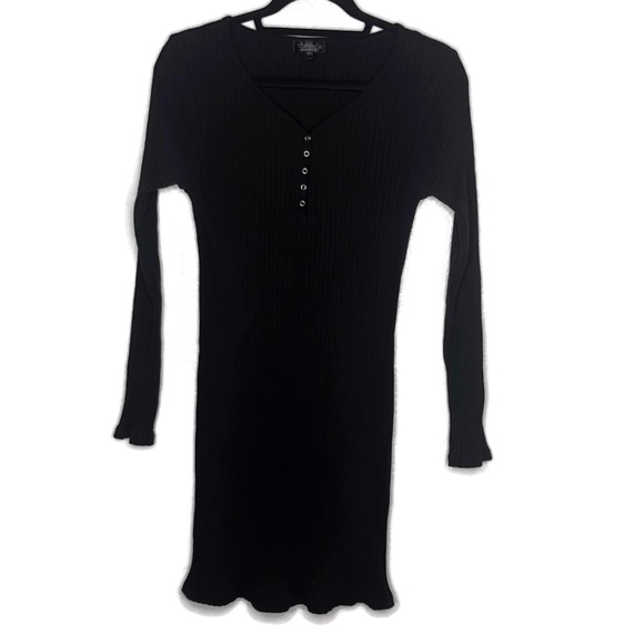 Topshop Dresses & Skirts - Topshop Black Long Sleeve Ribbed Bodycon Dress
